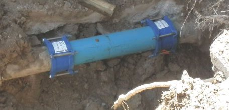 Repaired cold water main